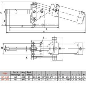 Grampo Pneumático  Vertical Modelo GPP-1210S / GPP-1247S